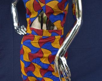criss-cross wrap top Ankara Kente Crop top 2 piece set