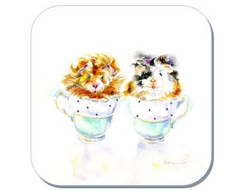 One Lump or Two - Guinea Pig Coaster (Corked Back). From an original Sheila Gill Watercolour Painting