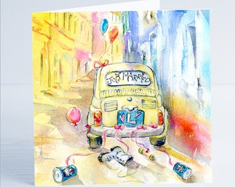 Just Married Fiat 126 - Greeting Card - Taken from an original watercolour by Sheila Gill