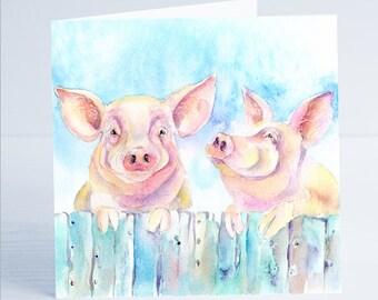 Two Little Piggies - Greeting Card - Taken from an original Sheila Gill Watercolour Painting.