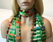 Long green multi-color abstract check printed head scarf, neck scarf, satin scarf, women's head wrap, gifts for women