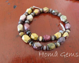 Mookaite ethnic necklace, Amazonite and Brown coconut.