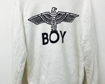 FREE SHIPPING!!! Vintage 90's Boy London United Kingdom Sweatshirt Big Logo Medium Size