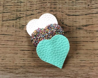 Confetti Heart Snap Clip - Faux Leather - Snap Clips - 50mm Clips - 2.5 inches - Chunky Glitter - Hair Bows