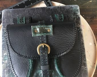 READY TO SHIP Black and Green Leather Belt Bag / Possibles Bag