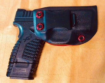 Springfield XDS 3.3 9/40/45 9mm, .40 and .45  IWB kydex holster, red and black adjustable cant FREE Shipping!
