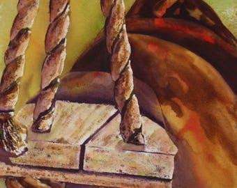 Original Watercolor - Rope Swing Bliss, 24x33
