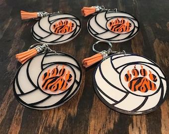 Acrylic volleyball keychain