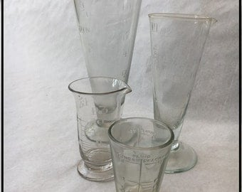 Antique apothecary tapered measuring glasses
