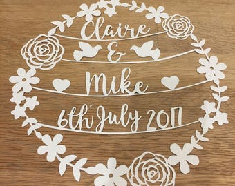Personalised Wedding Engagement Anniversary Day Handcut Papercut