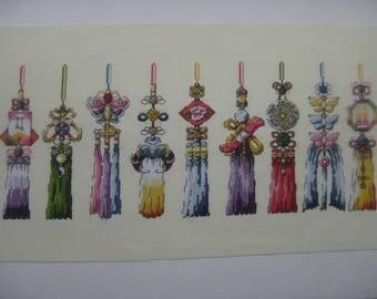 Cross-stitch  hand embroidered talismans