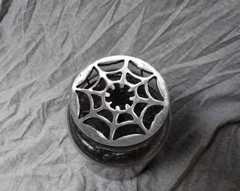 "Candle jar topper ""spider web"""