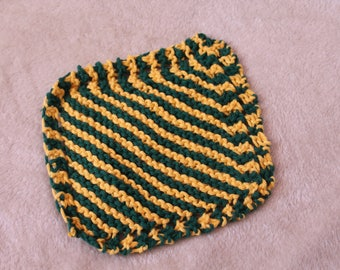 Hand-Knit Cotton Green and Gold Dishcloth