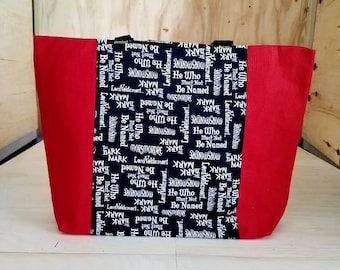 Large Red Hufflepuff Harry Potter Tote Bag