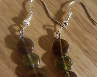 Gorgeous green and brown drop earrings