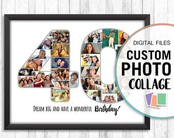 40th Birthday Collage, 40th Birthday Photo Collage, 40 Photo Collage, 40th Birthday Personalized, Custom Anniversary Date, Custom Collage