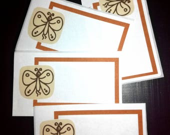 20 pcs Stickers Sticker labels labels label for children children motif butterfly with frame beige browns Rectangular