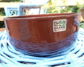 Arabia Wartsila Finland dark brown enamel bowl, 5.5 diameter, enameled, enamelware, Mid-Century