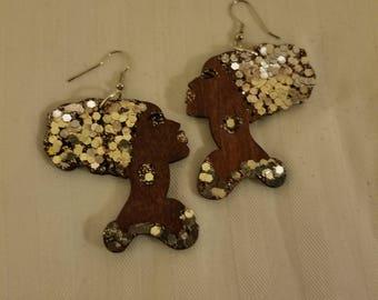 Sliver Nefertiti Head Earrings