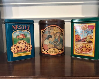 Nestle Toll House - set of 3 vintage tins cookie tins limited edition