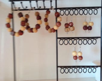 Natural Wooden bead bracelet and matching earrings set