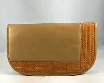 Vintage Palizzio Snakeskin Beige Leather Clutch Shoulder Bag