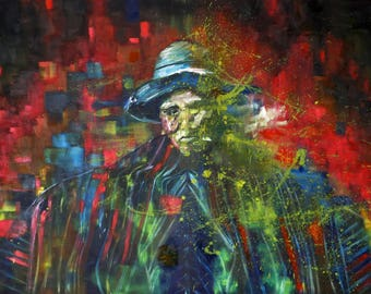 Oil on canvas painting. Colorful, figurative and large paiting. Splash painting and abstract portrait of an native man from the Andes.