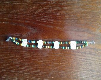 Handmade Double Beaded Bracelet with Bone Beads