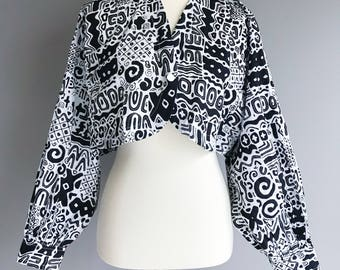 VTG  80s Black & White Patterned Longsleeve Shrug