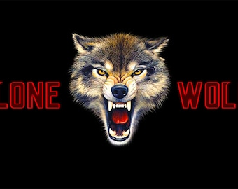 LONE WOLF Flag and Banner 3x5ft 90x150cm Polyester Banner 2 Metal Grommets