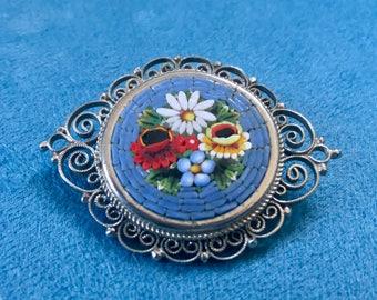 Micromosaic Brooch Flowers Vintage Glass