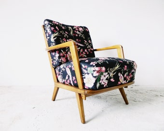 50s Armchair/1950 's Armchair/mid century armchair/flower bird motif/