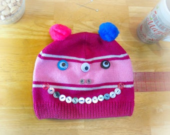 Cool Winter Hats, Gifts for Teens, OOAK Unique Hats, Eco Friendly Clothing, Best Custom Winter Hats, Cute Winter Hats with Pompoms, H080