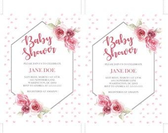 Rose baby shower invitation - 5x7