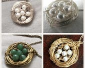Mama Bird - Custom Mother Nest Necklace - Silver - Gold - Bronze - Pearls - Nest Pendant - Handmade Jewelry - Hand Wire Wrapped