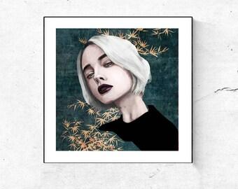 "Kira"", Digital portrait, Wall Art Print, Modern Art, Green Print, Download Printable Art, Digital illustration, Green Painting, Square Print"