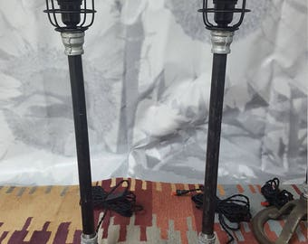 Set of 3 industrial vintage style lamps