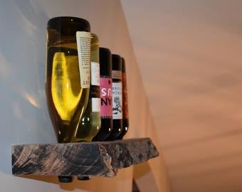Live edge wall mounted wine rack