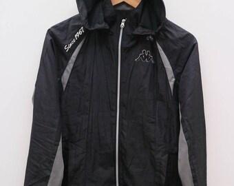 KAPPA Sportswear Since 1967 Small Logo Black Vintage Hoodies Windbreaker Size S