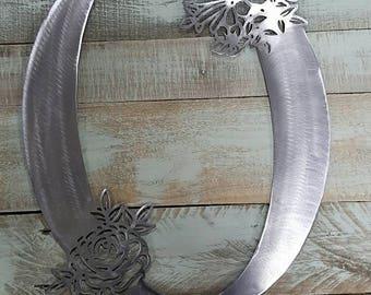 Metal Steel Letter Q Flower Floral Alphabet