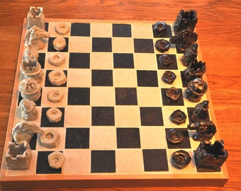 hand made ceramic chess set