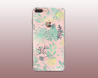 Leaves Clear TPU Phone Case for iPhone 8- iPhone 8 Plus - iPhone X - iPhone 7 Plus-iPhone 7- iPhone 6 - iPhone 6S - iPhone SE - Samsung S8