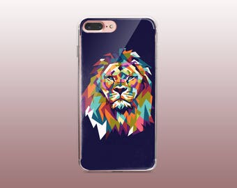 Lion Clear TPU Phone Case for iPhone 8- iPhone 8 Plus - iPhone X - iPhone 7 Plus-iPhone 7- iPhone 6 - iPhone 6S - iPhone SE - Samsung S8