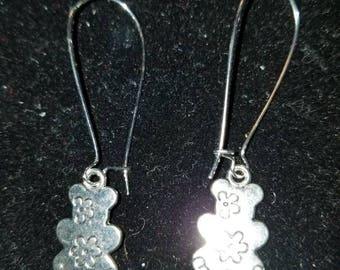 Boutique Silver Alloy ...Cute Floral Teddybear Earrings  #C61