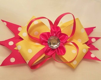 Oversized 7 inch boutique stacked bow