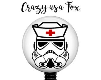 Star Wars Nurse Stormtrooper Retractable Badge Holder, Badge Reel, Lanyard, Stethoscope ID Tag, Nurse RN Gift