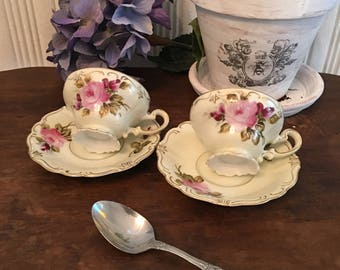 Vintage hand painted rose teacup and saucers set of 2