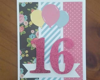 Sweet 16 Girls Birthday Card