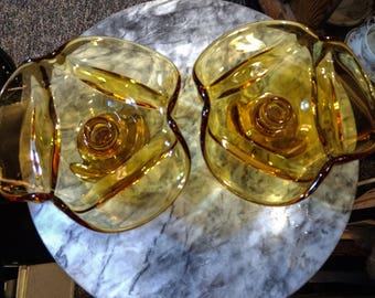 2 Rare 1968 Viking Epic Drape amber Glass footed Taper Candle Holder #6949 Mid Century Modern