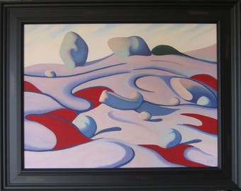 Sermon on the mount. Rock feature with vibrant red and shades of grey. Oil on canvas hand made.